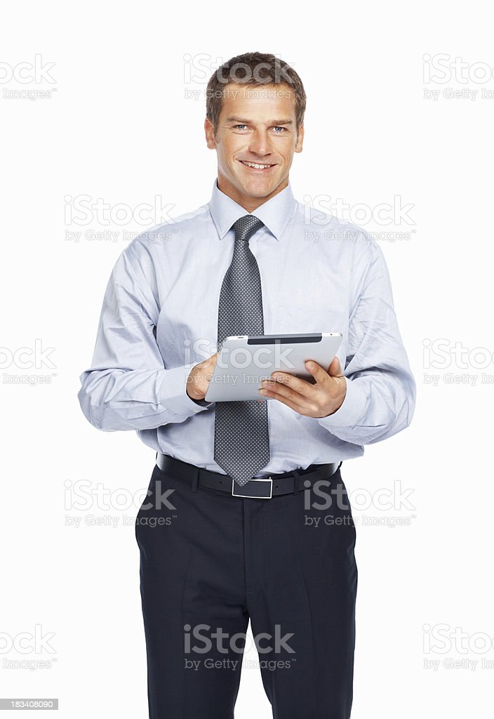 Businessman working on a tablet PC royalty-free stock photo