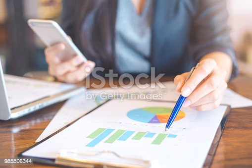 996183898 istock photo Businessman working on analysis charts and graphs showing results.Business analysis and strategy. 985506344