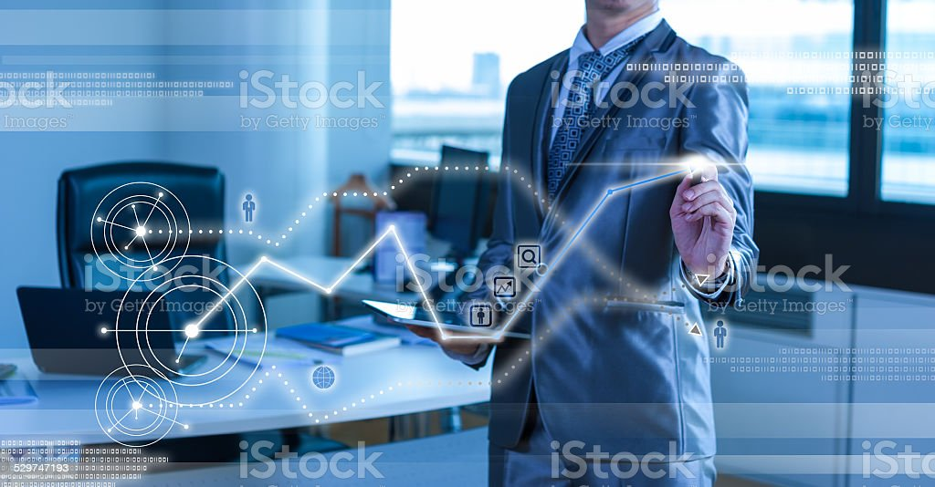 businessman working on bar chart business strategy concept stock photo
