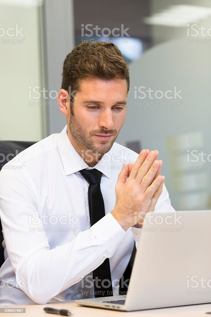 Businessman working on computer in modern office royalty-free stock photo