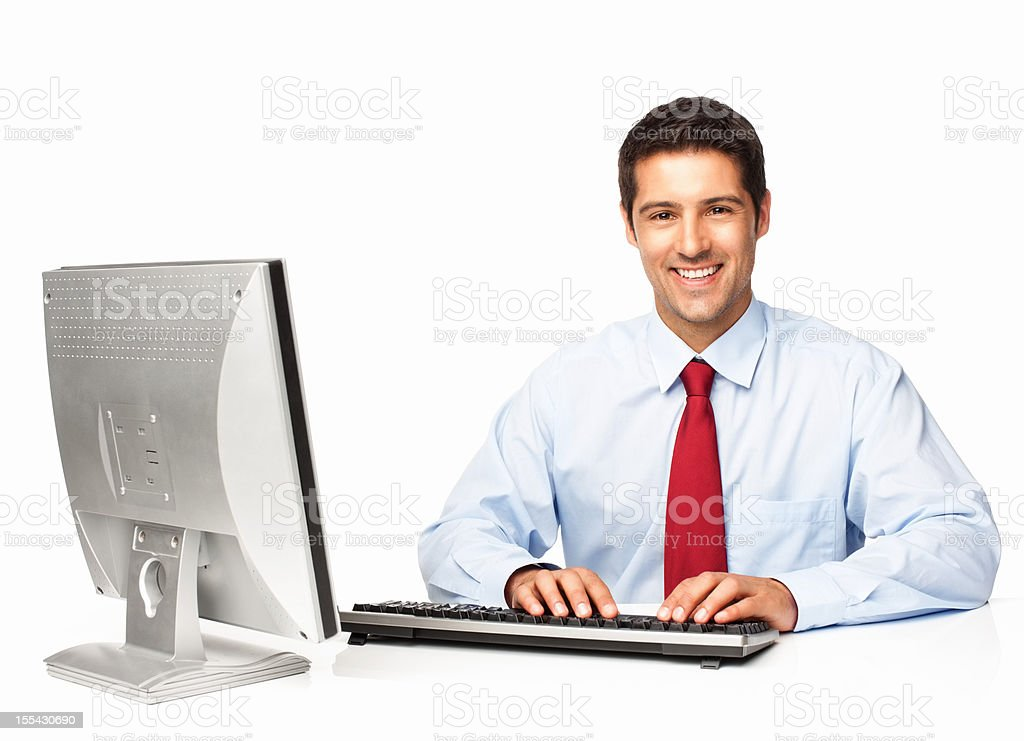 Businessman Working On Computer - Isolated royalty-free stock photo