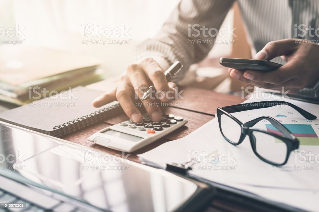 Businessman working on Desk office stock photo