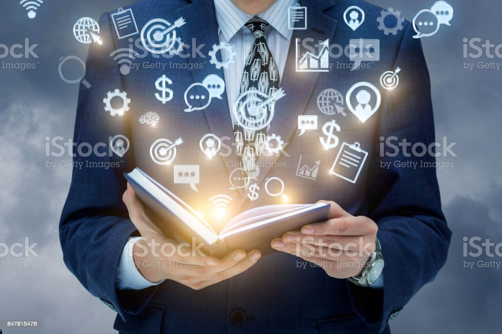 Businessman working on developing business strategies . stock photo