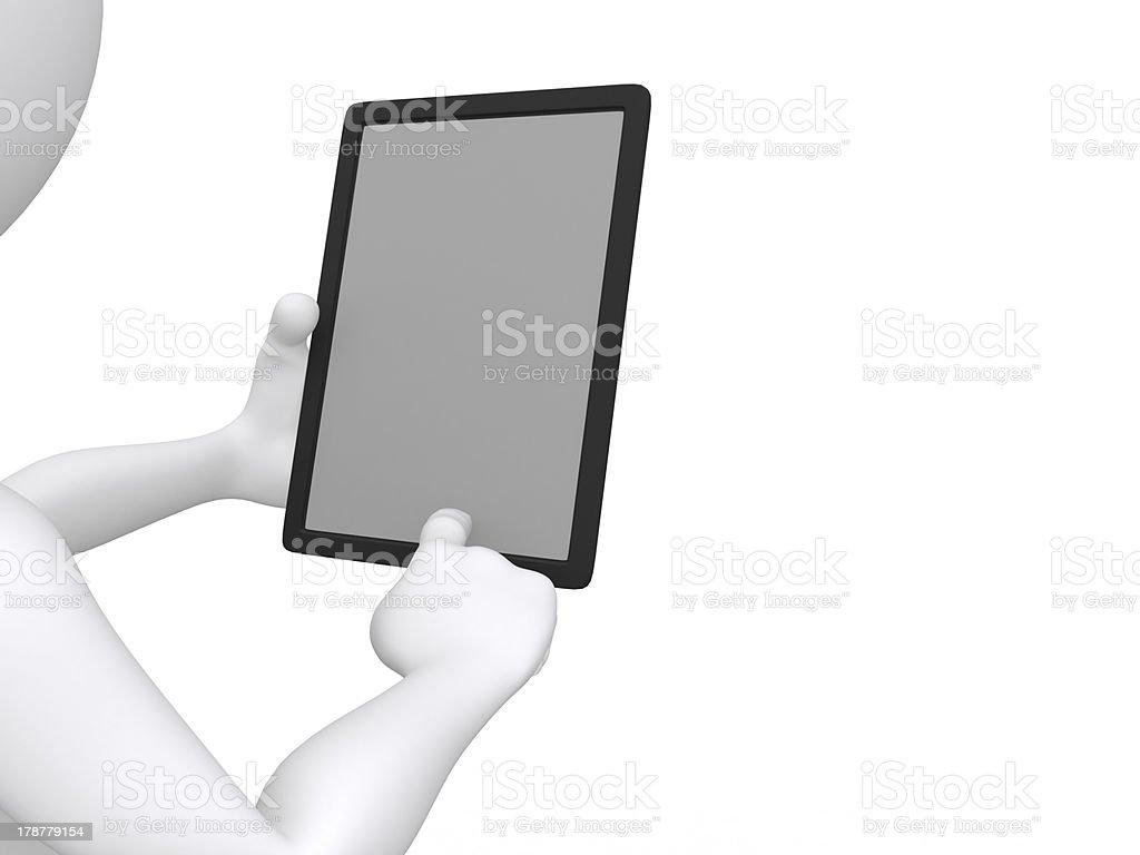 businessman working on Ipad  - 3d illustration stock photo