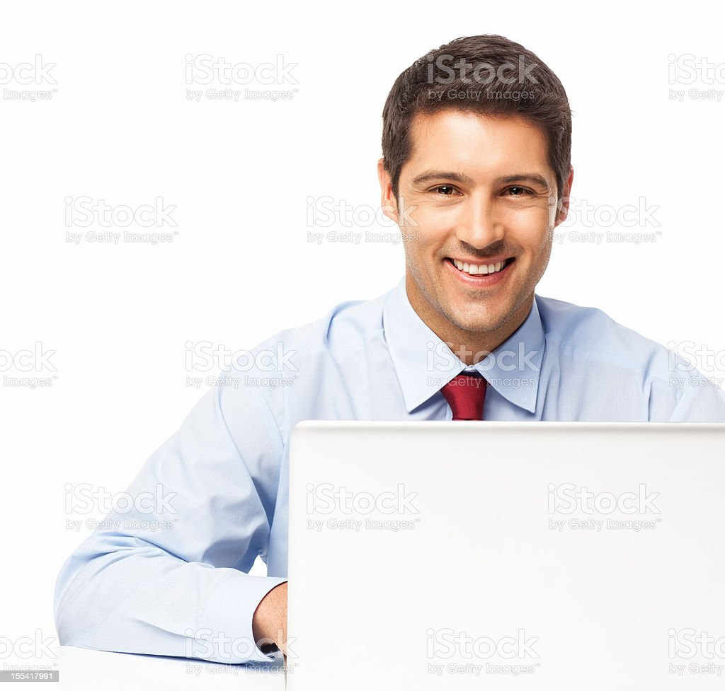 Businessman Working On Laptop - Isolated royalty-free stock photo
