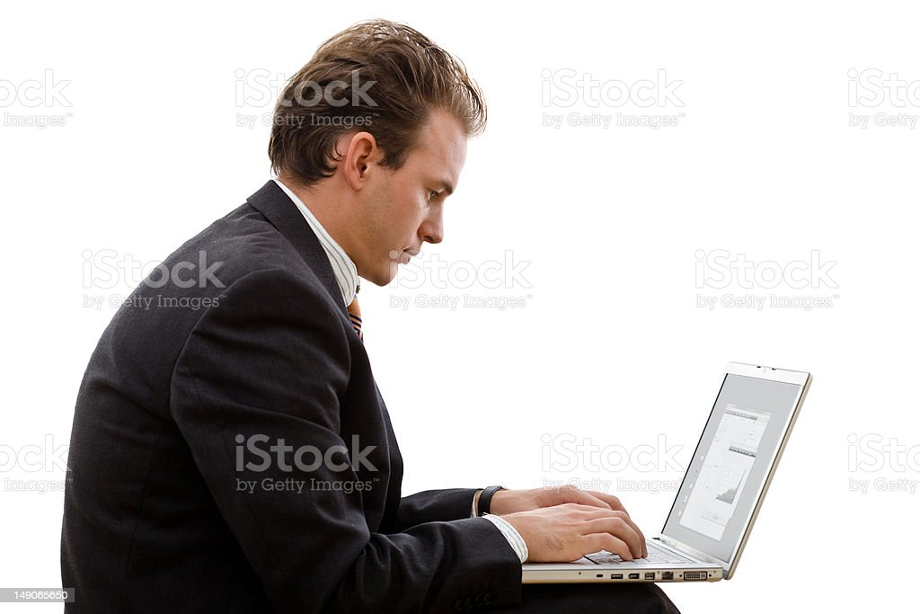 Businessman working on laptop royalty-free stock photo