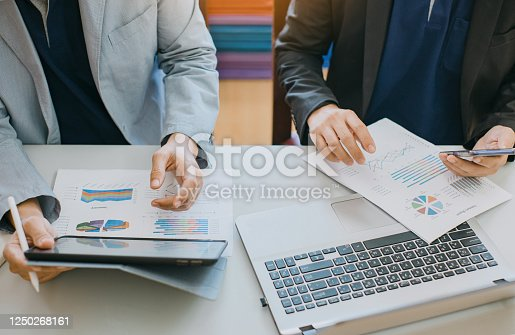 875087884 istock photo businessman working on project for analyzing company financial report balance statement with documents graphics at modern office space. Concept picture of business,economy, market,money and tax. 1250268161