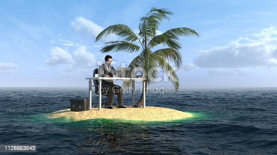 istock Businessman working on the small island 1128663543