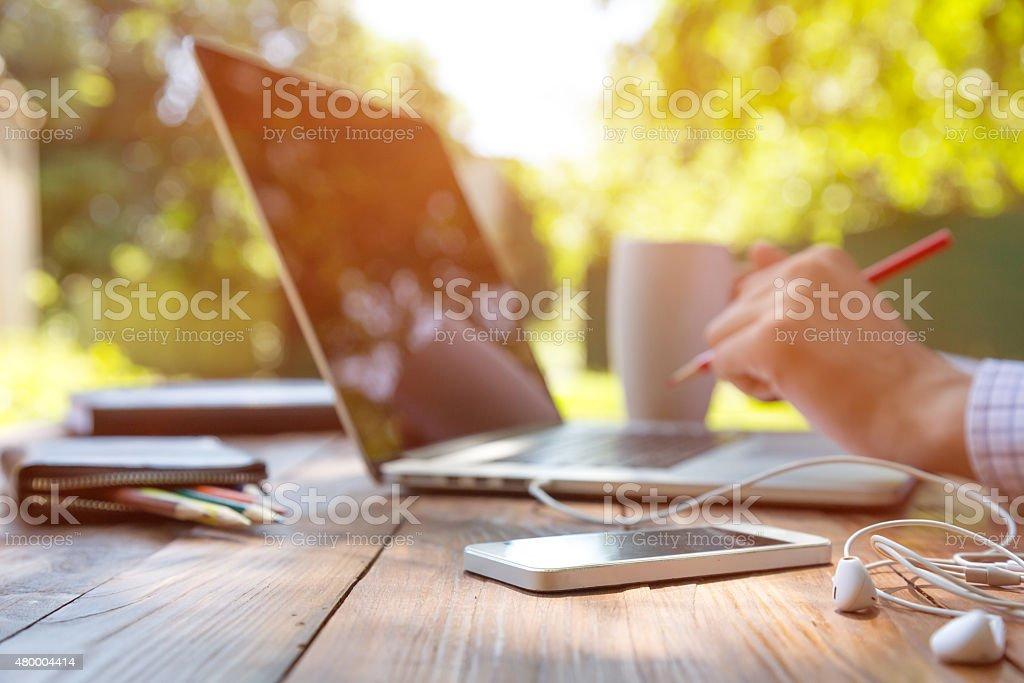 Businessman working outdoor stock photo