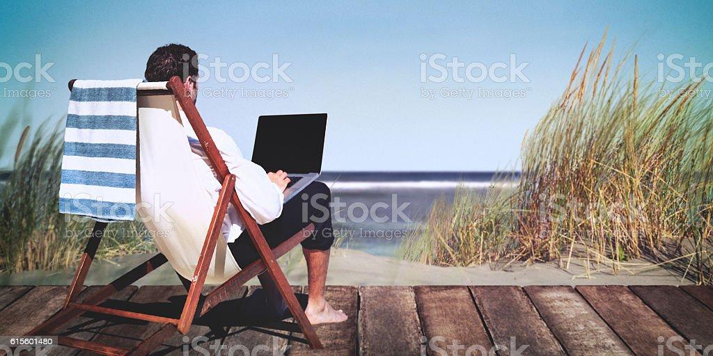 Businessman Working Summer Beach Relaxation Concept stock photo