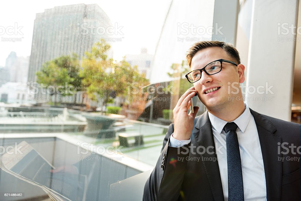 Businessman Working Talking Phone Concept foto stock royalty-free