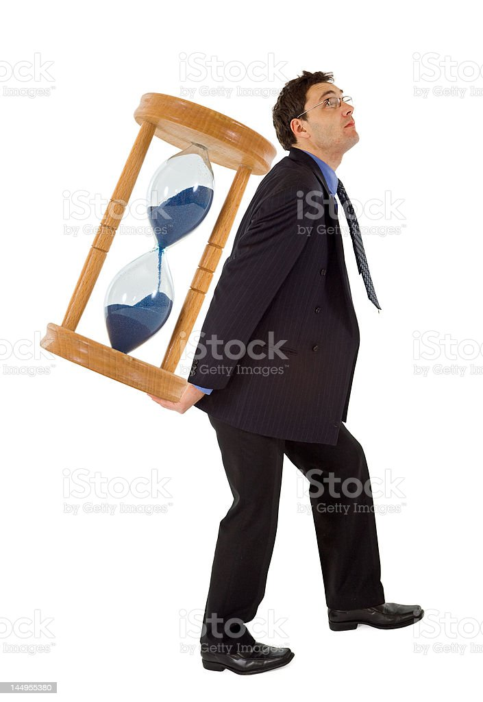 Businessman working under pressure - isolated royalty-free stock photo