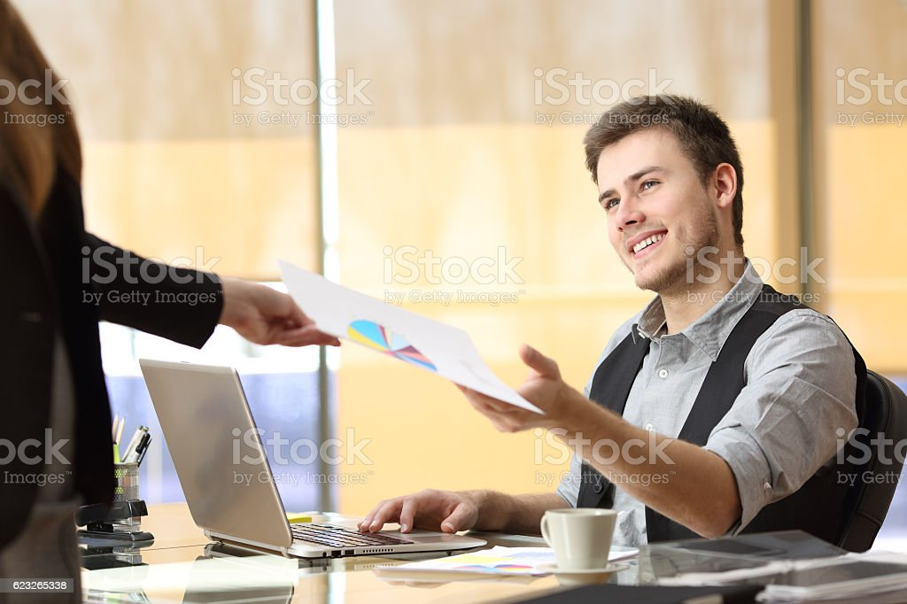 Businessman working with a teamwork at office stock photo