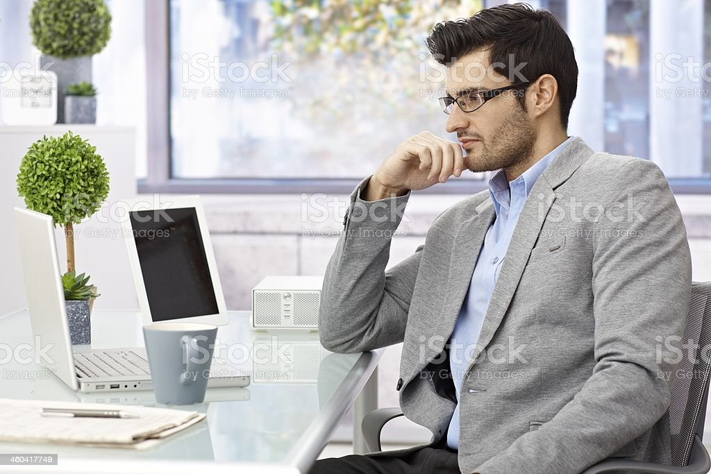 Businessman working with computer stock photo