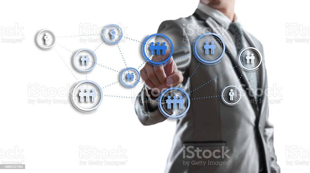 Businessman working with digital visual object, human resource c stock photo
