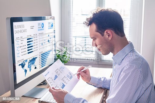 850852928 istock photo Businessman working with KPI dashboard metrics, BI graph, financial report 854566068