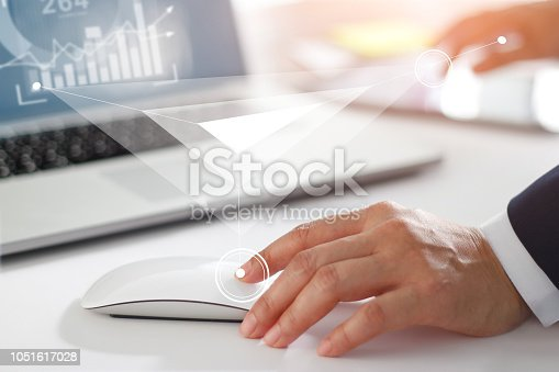 938918098 istock photo Businessman working with laptop computer, tablet and smart phone. Modern interface online and network connection on virtual screen. Business strategy and innovation technology concept. 1051617028