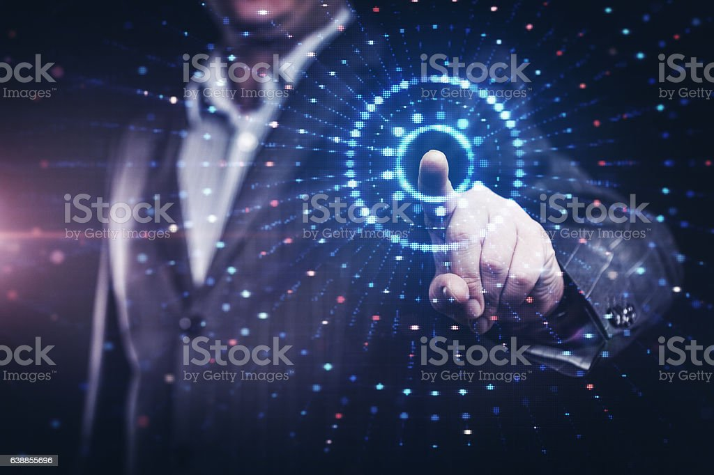 Businessman working with modern computer controlling stock market stock photo