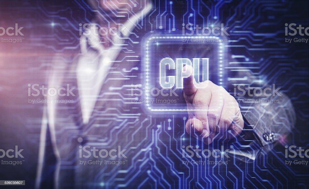 Hombre de negocios trabajando con interfaz de la computadora moderna foto de stock libre de derechos