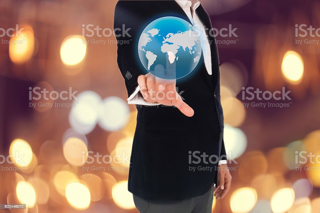 Businessman working with modern virtual technology stock photo