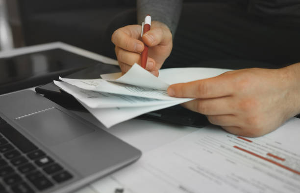 Businessman working with papers. Signing the contract. stock photo