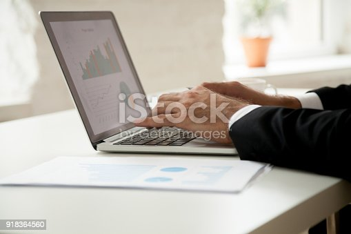 istock Businessman working with project statistics analyzing graphs on laptop screen 918364560