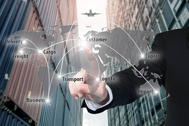 Businessman working with virtual interface connection map - foto de stock