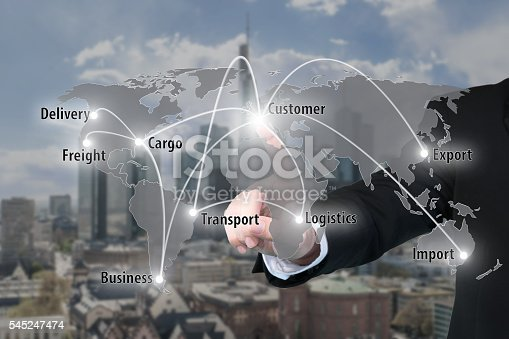 544976664 istock photo Businessman working with virtual interface connection map 545247474