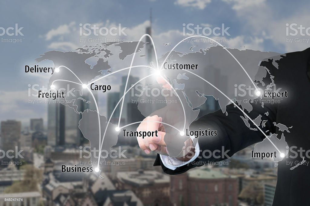 Businessman working with virtual interface connection map stock photo