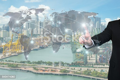 544976664 istock photo Businessman working with virtual interface global partners graph 543474082