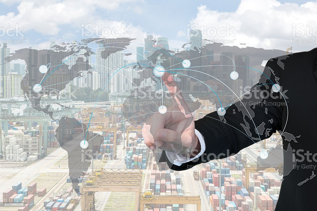 Businessman working with virtual interface map global partner stock photo