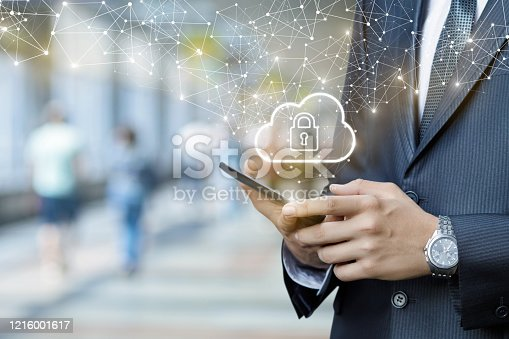 istock Businessman works in a public network with protected information. 1216001617