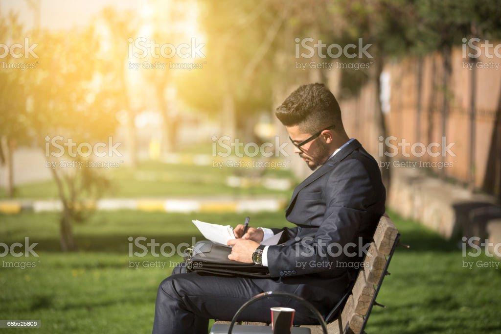 Businessman write notebook stock photo
