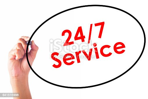 istock Businessman writing 24/7 Service word with pen 641515998