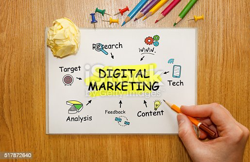 istock Businessman writing Digital Marketing concept in his Notebook 517872640