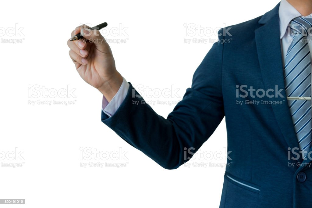 Businessman writing, drawing on the screen, blank transparent whiteboard with copy space, isolated on white background stock photo