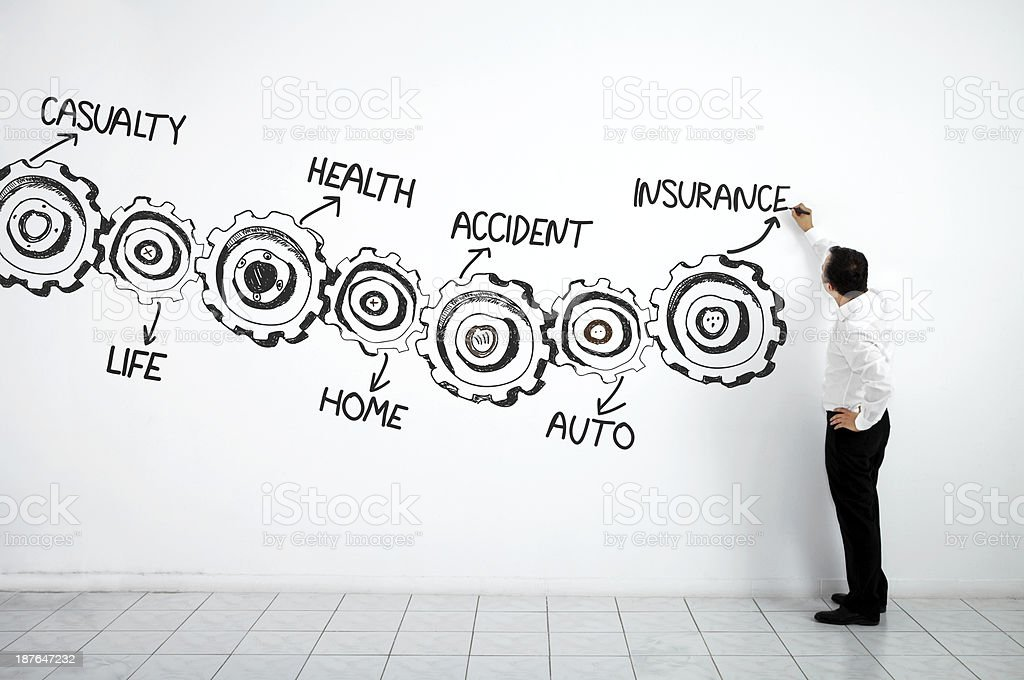 Businessman Writing Insurance Process royalty-free stock photo
