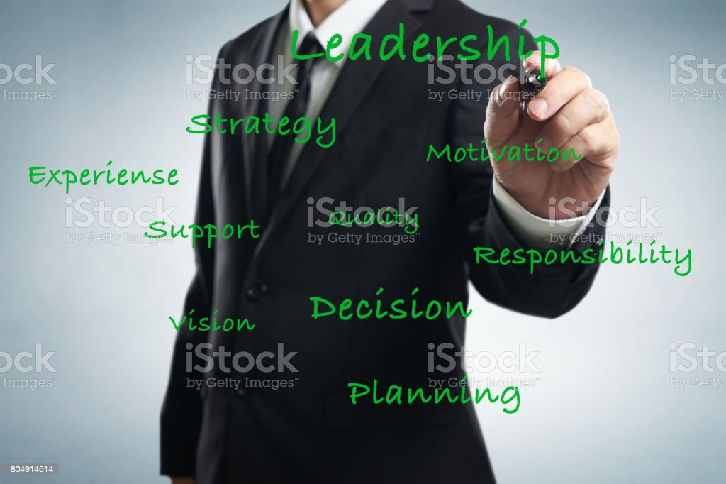 Businessman writing leadership skill concept on trasparent screen . stock photo