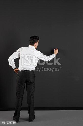 istock businessman writing  on an empty  black board 691231786