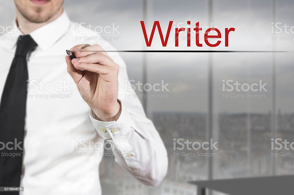 businessman writing writer in the air stock photo