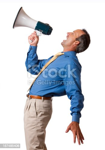 a 40-45 year old male business man leaning over backwards yelling into a megaphone. happy, good news. isolated on a white background.