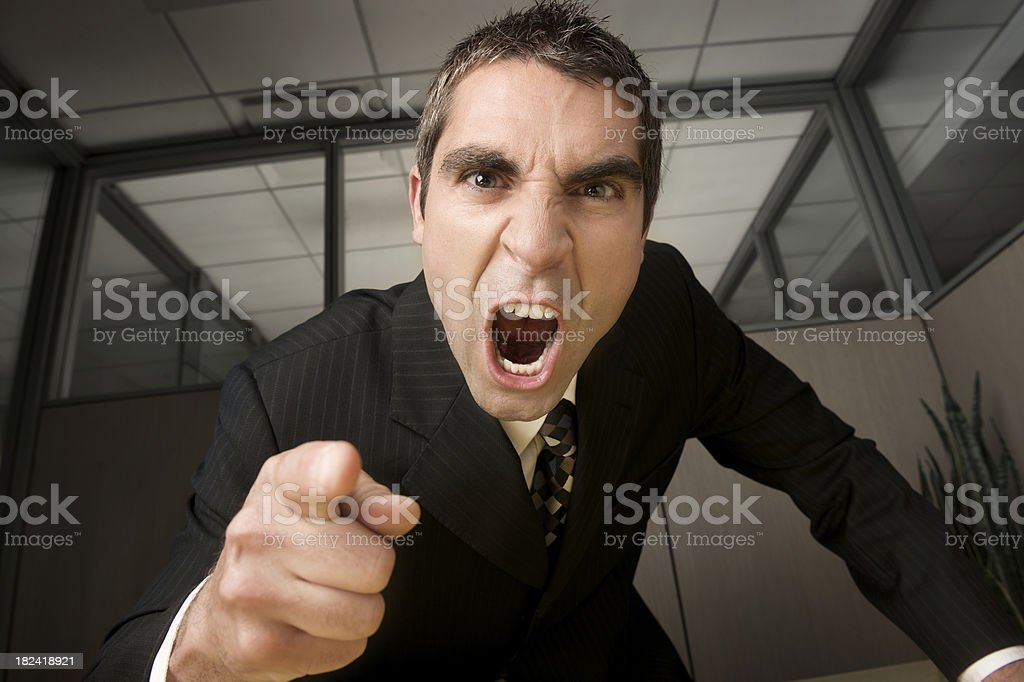 Businessman yelling stock photo