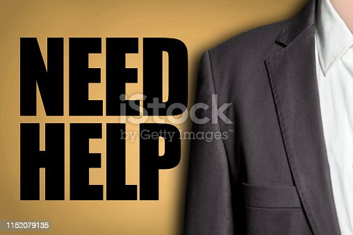 NEED HELP? / Businessman yellow background concept (Click for more)