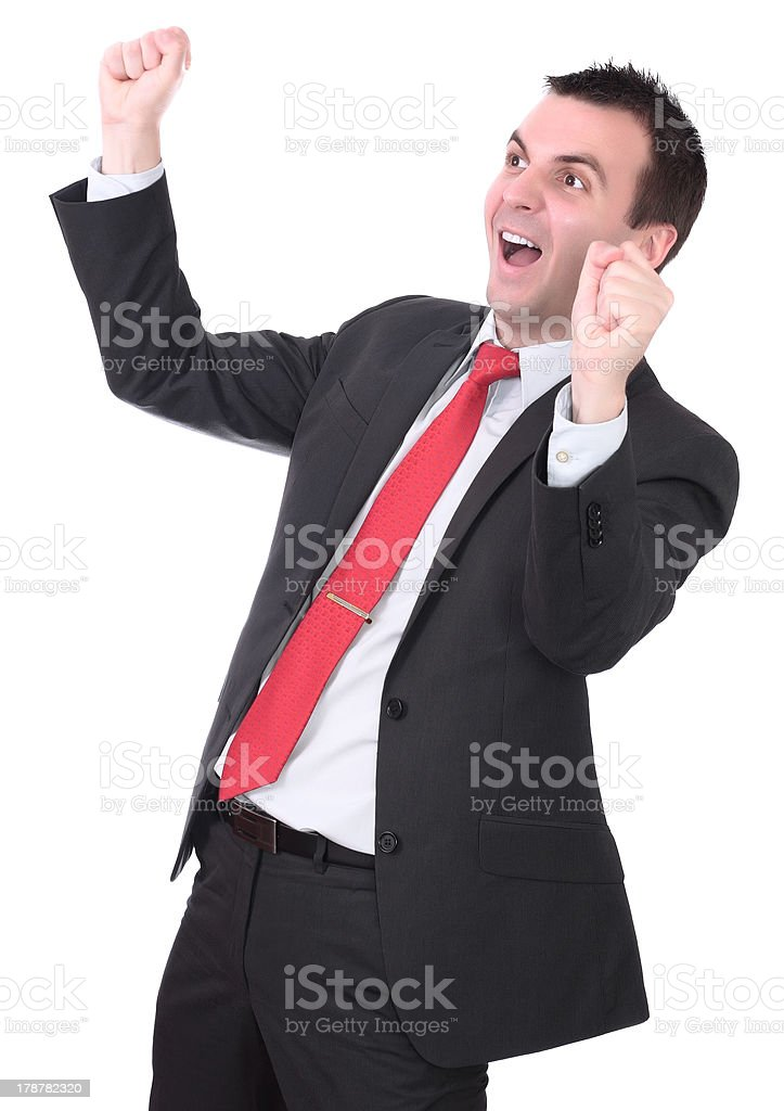 Businessman-feeling a great happy . Isolated royalty-free stock photo
