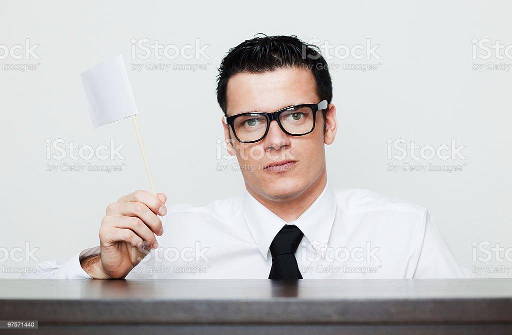 businessmann avec bannière photo libre de droits