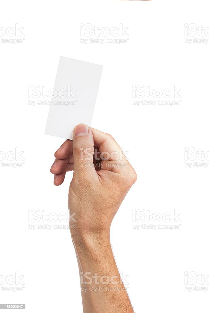 Businessman's hand holding blank business card stock photo