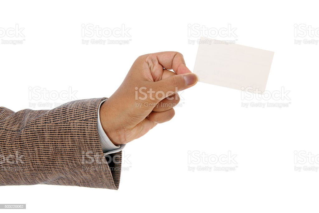 Businessman's hand holding blank paper business card stock photo