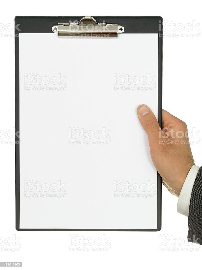 Businessman's Hand Holding Blank Paper royalty-free stock photo