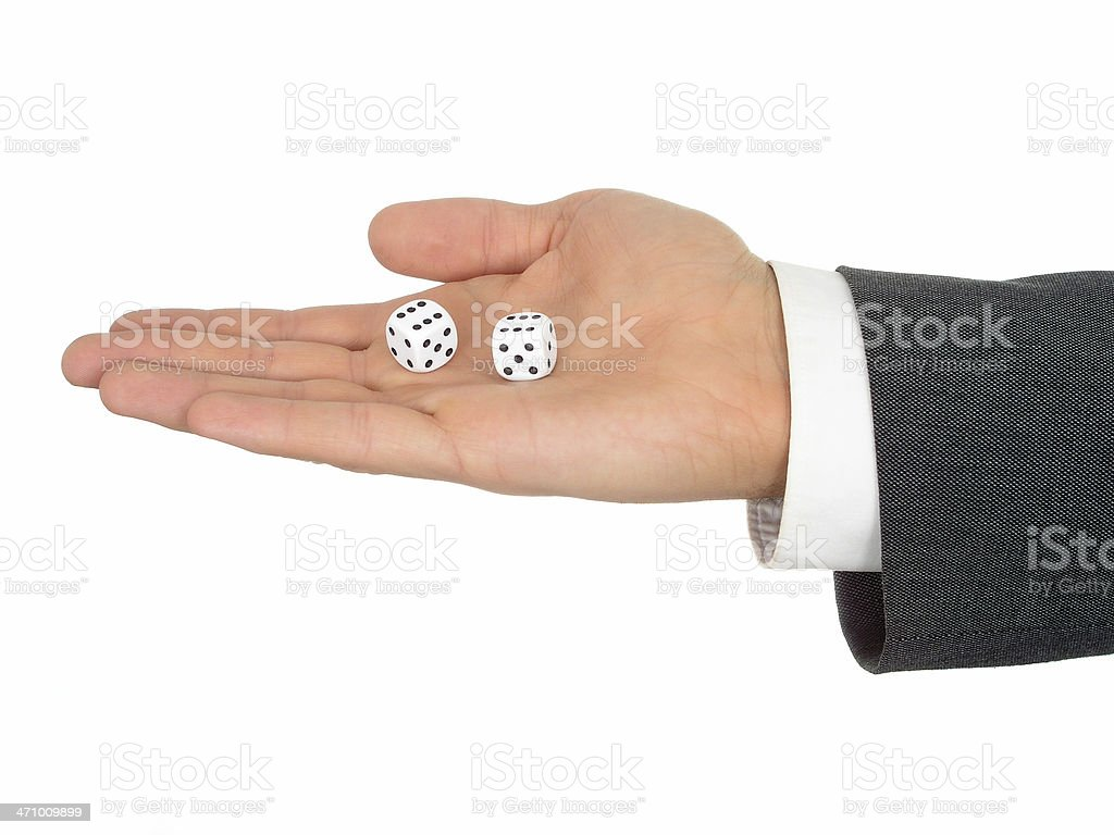Businessman's Hand Holding Dice royalty-free stock photo