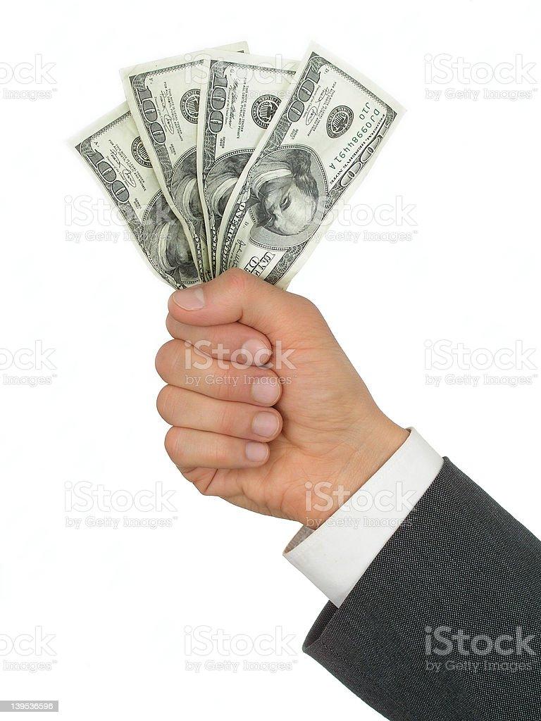 Businessman's Hand Holding Money royalty-free stock photo